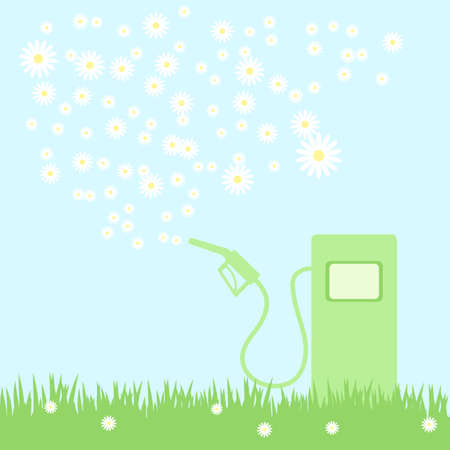 litre: green gas pump on a green field with camomiles