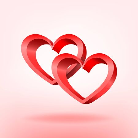 3D red hearts illustration Vector