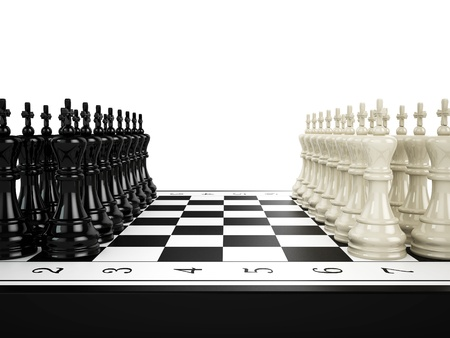 Black and white chess kings stand in a row opposite Black and white chess kings stand in a row opposite to each other on a chessboard, 3d render photo