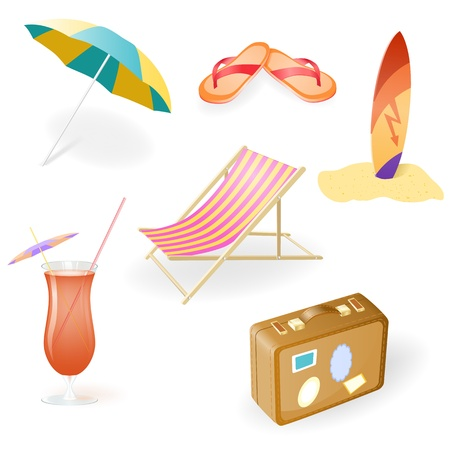 Beach Set From Chaise Lounge, Beach  Umbrella, Beach Footwear, Cocktail, Suitcase and Surfboard Stock Photo