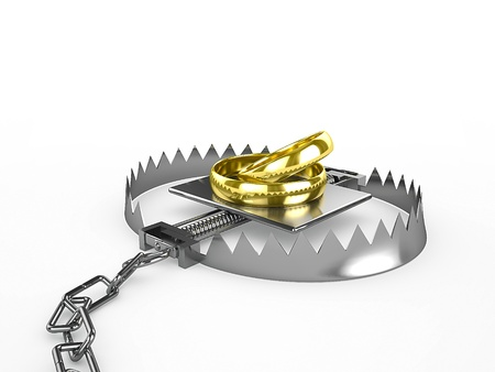 Two wedding rings - a bait in a trap, 3d render Stock Photo