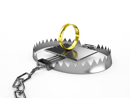 Wedding ring - a bait in a trap, 3d render