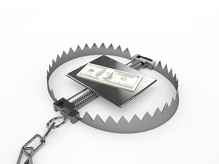 Dollars stack sitting on trap, 3d render Stock Photo - 18572476