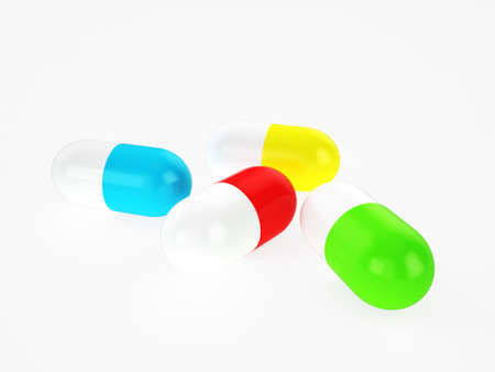 different colors capsules, 3d render Stock Photo - 18572388