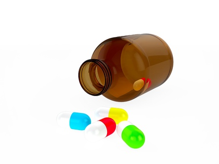 Glass medical container for pills or capsules and different colors capsules  3d render Stock Photo - 18572404