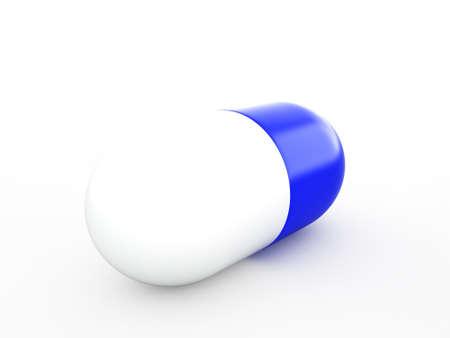 whiteblue: white-blue capsule isolated on the white, 3d render Stock Photo