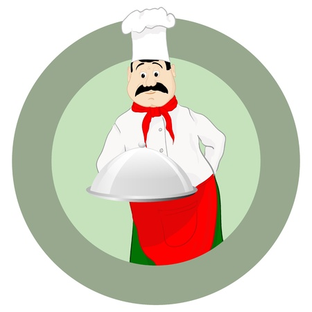 The cook in a cap with a tray Vector