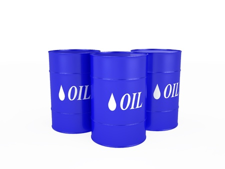 Three blue barrels with the oil, isolated on the white photo