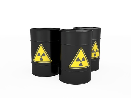 nuclear waste disposal: Three black barrels with radioactive symbol, isolated on white background