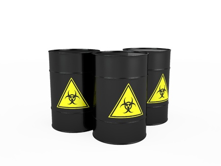 Three black barrels with biohazard, isolated on white photo