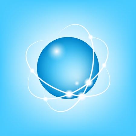 3D Vector Atom on blue, EPS10