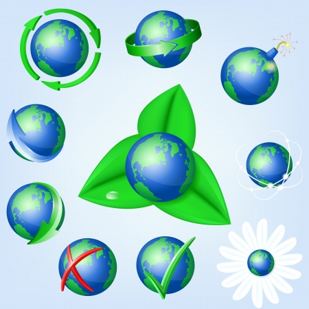 Set of vector globe icons showing earth , EPS10 Vector