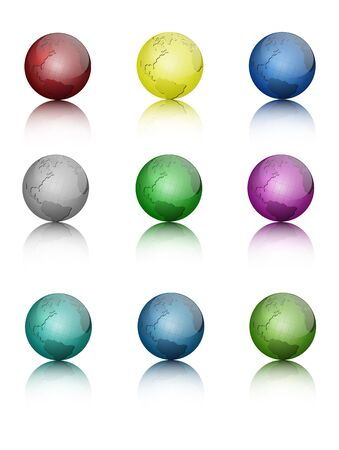 Set of colored globe icons  Vector Illustration