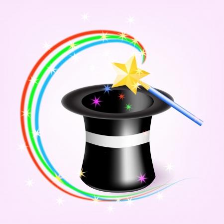 Magic hat with magic wand  illustration Illustration