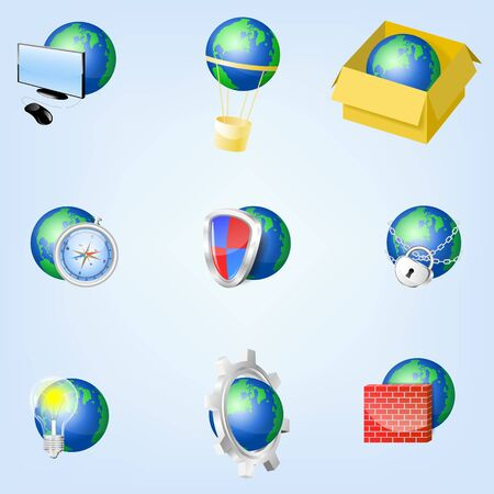Set of globe icons showing earth