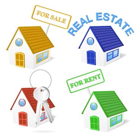 3D Immobilier Business Icon Set Illustration