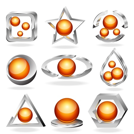 3d business abstract icons set  Chrome and orange  Vector