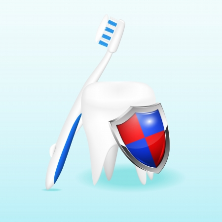 Tooth with a shield and a toothbrush illustration Vector
