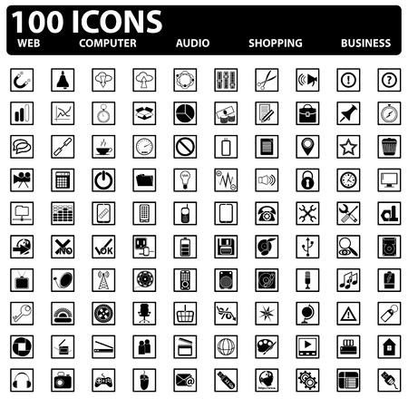 100 vecteur des ic�nes web web, ordinateur, affaires, du shopping Illustration