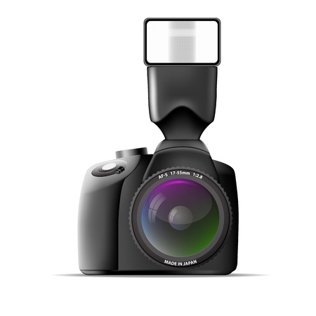 Realistic camera with external flash  Vector illustration Vector