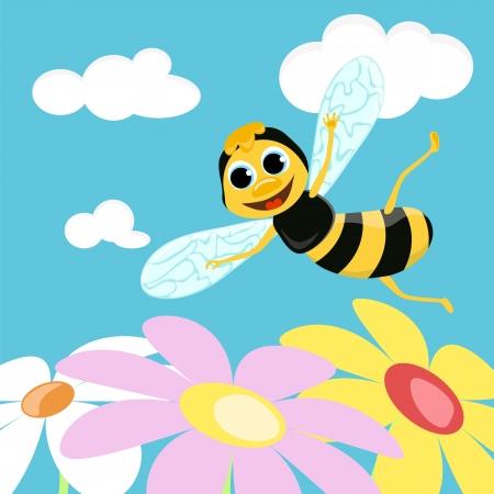 Flying bee  Vector illustration