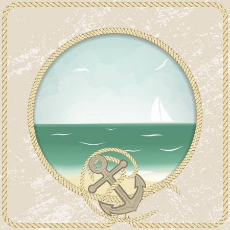 Vintage sea post card. Vector