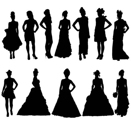 sexy woman standing: Women silhouettes in various dresses.