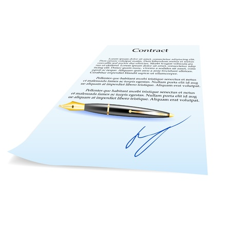 Business Contract and pen  Vector Illustration