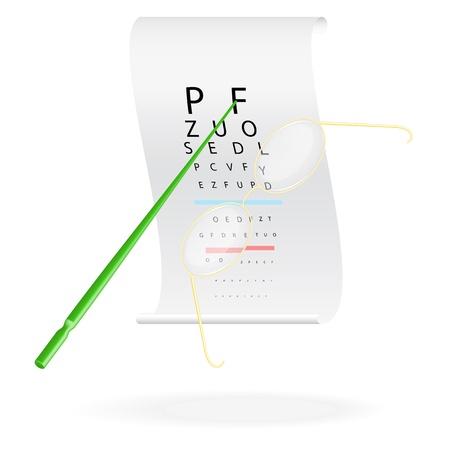 sight chart: Gafas en una prueba de la vista gr�fica ilustraci�n vectorial ojo