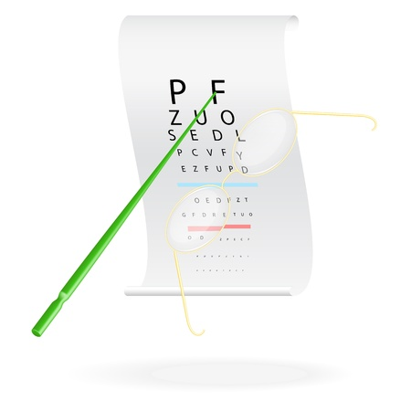 Glasses on a eye sight test chart  Vector illustration Stock Vector - 20748781