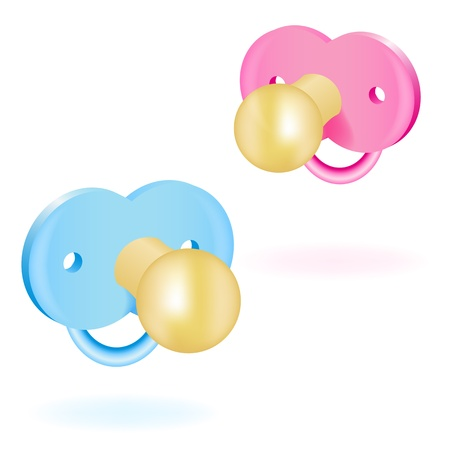 distract: Two babys dummy pink and blue. Vector illustration Illustration