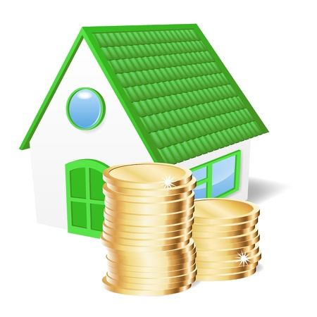 House with coins. Vector illustration Stock Vector - 20748812