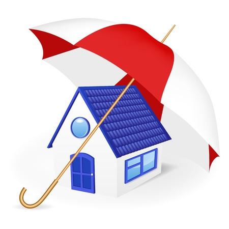 Maison sous un parapluie. Vector illustration