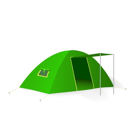 tent vector: Green tourist tent. Vector illustration