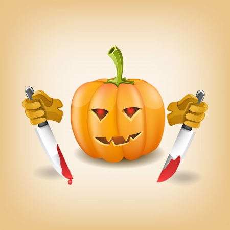 Halloween background with killer pumpkin. Vector illustration
