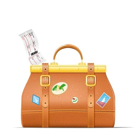 ticket vector: Vintage maleta con pegatinas y billete de avi�n ilustraci�n vectorial