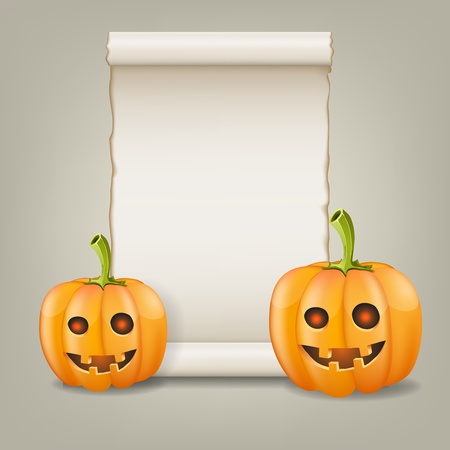 scrolled: Pumpkin and scrolled paper illustration