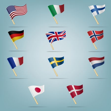 Moving flags set  Vector illustration