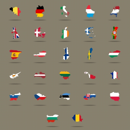 site map: European Union country flags set  Vector illustration