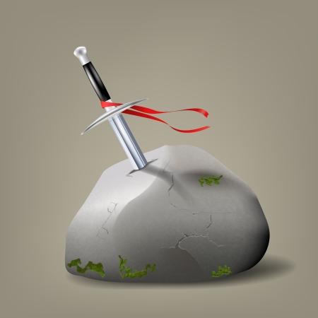 excalibur: Excalibur, King Arthur  Vector illustration