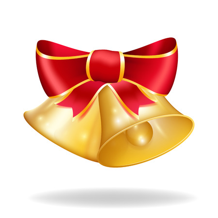 Jingle bells with red bow  Vector illustration