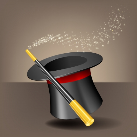 Magic hat and wand with sparkles. Vector illustration Stock Vector - 23477790