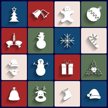 Flat icons set. Christmas and New Year. Vector Vector