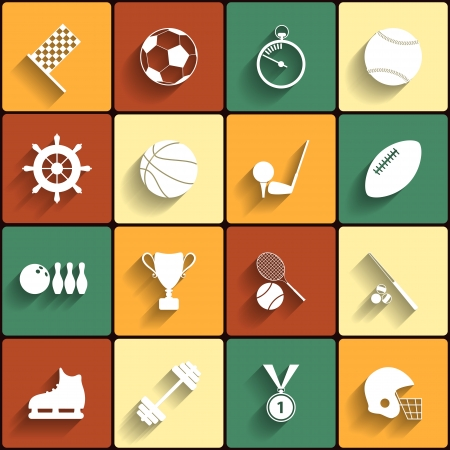 sports application: Set of vector sport icons in flat design