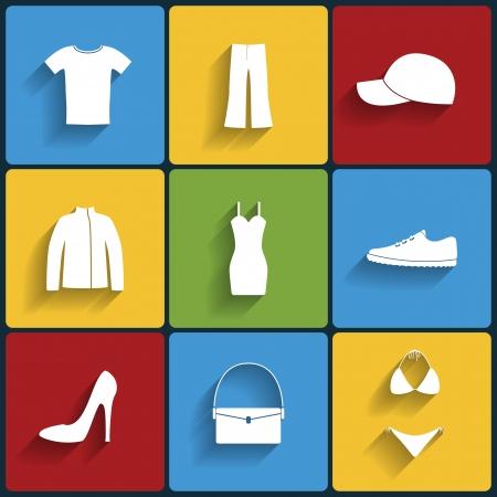 Clothes flat vector icons set Vector
