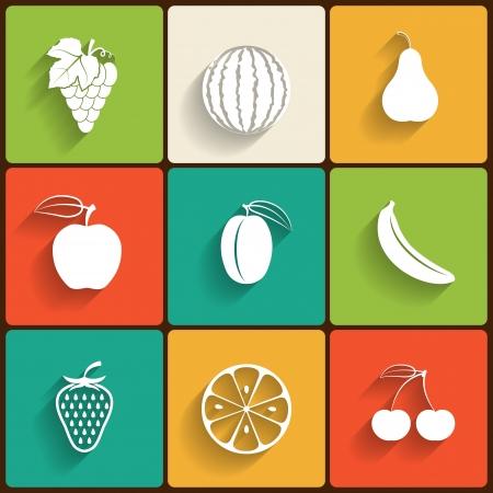 Vectorielle fruits plat ic�ne ensemble