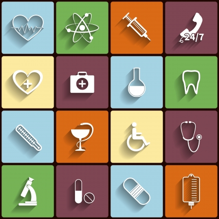 Medical vector flat icons set Stock Vector - 23867135