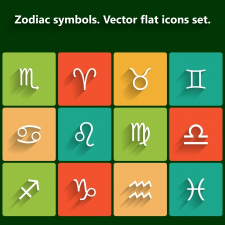 Signs of the zodiac  Vector flat icons Vector