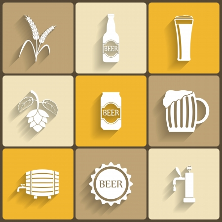 Beer Flat Icons for Web and Mobile Applications Vector