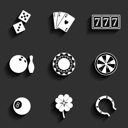 Casino and Gambling Flat Icons for Web and Mobile Applications Vector